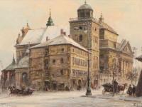 Обои для рабочего стола - Wladyslaw Chmielinski, зимний городской пейзаж.