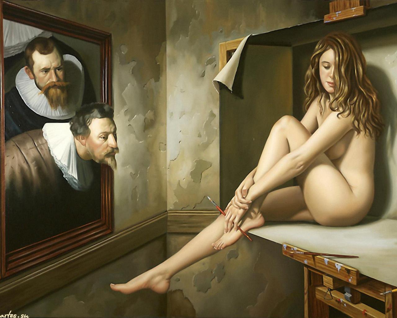 Художница рисует голого мужика, Дочь художница рисует с натуры папин член, сосёт его 17 фотография