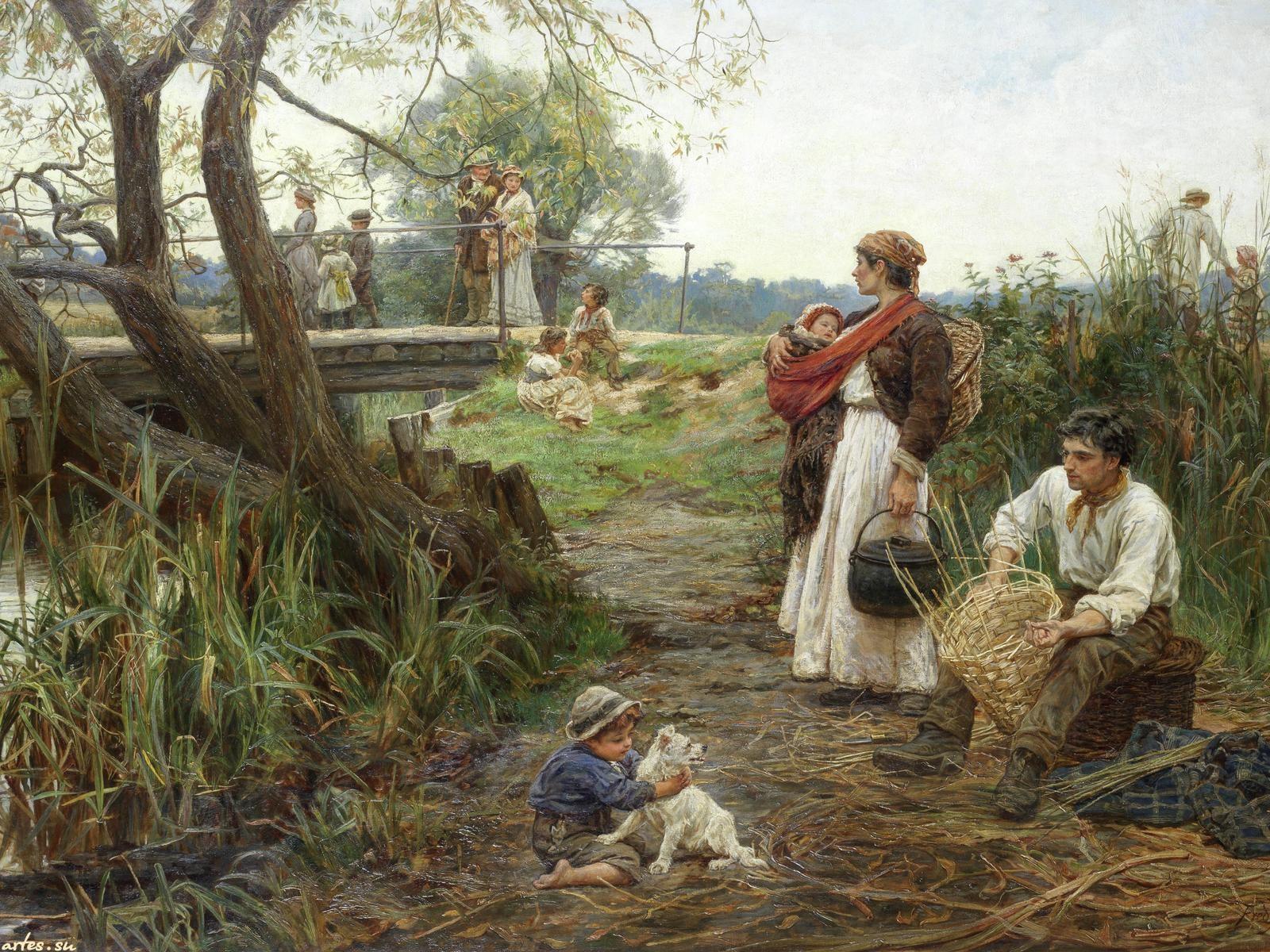 Скачать обои  дети и родители, Frederick Morgan 1600x1200