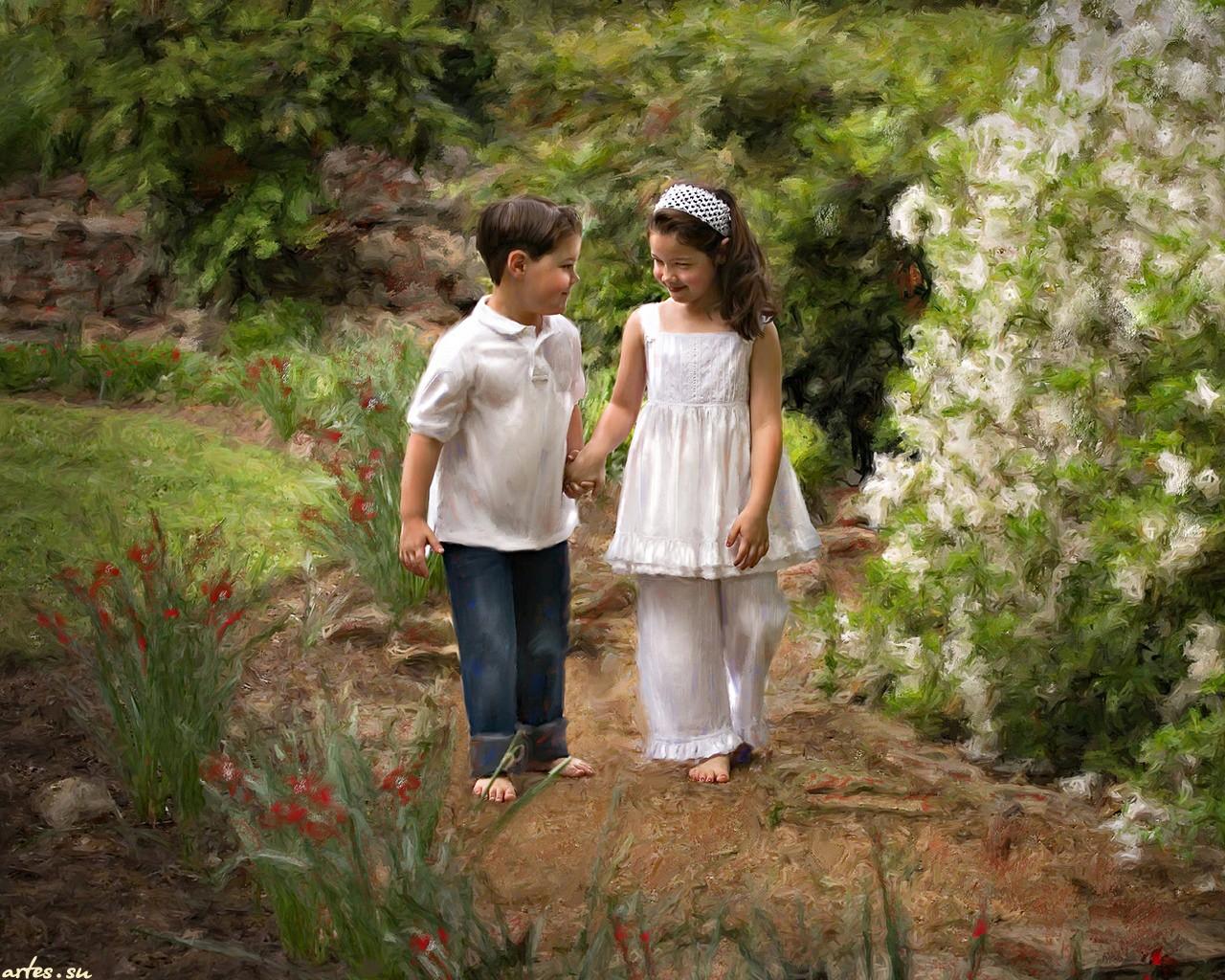 картинка мальчик с девочкой