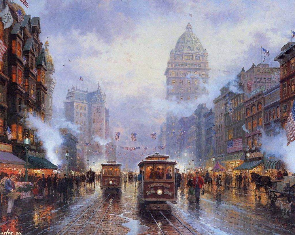 Скачать обои пейзаж, улицы Сан-Франциско, Thomas Kinkade 1024x768