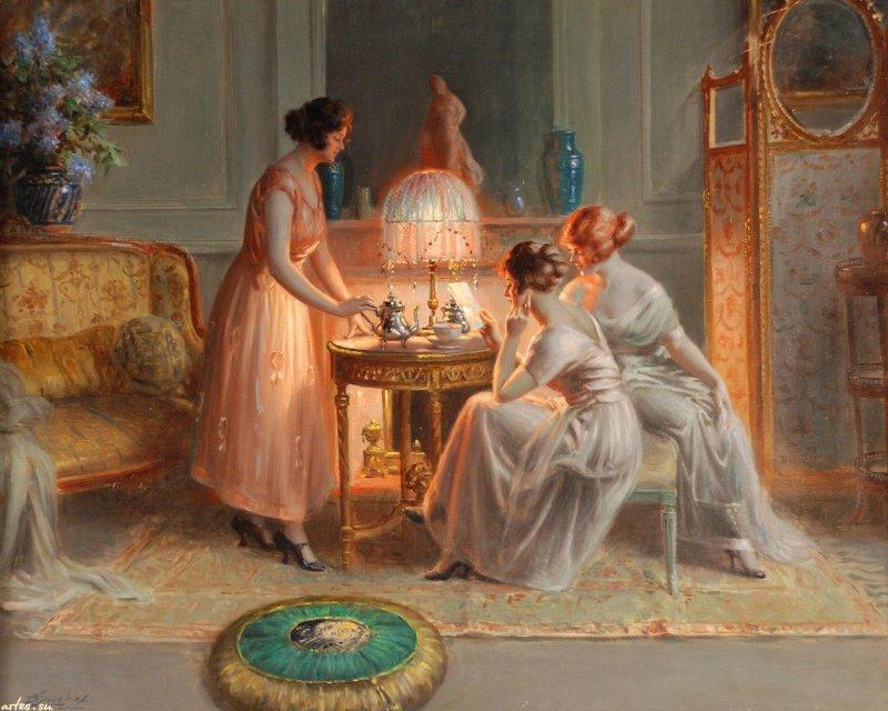 Скачать обои  девушки читают письмо, Delphin Enjolras 800x600