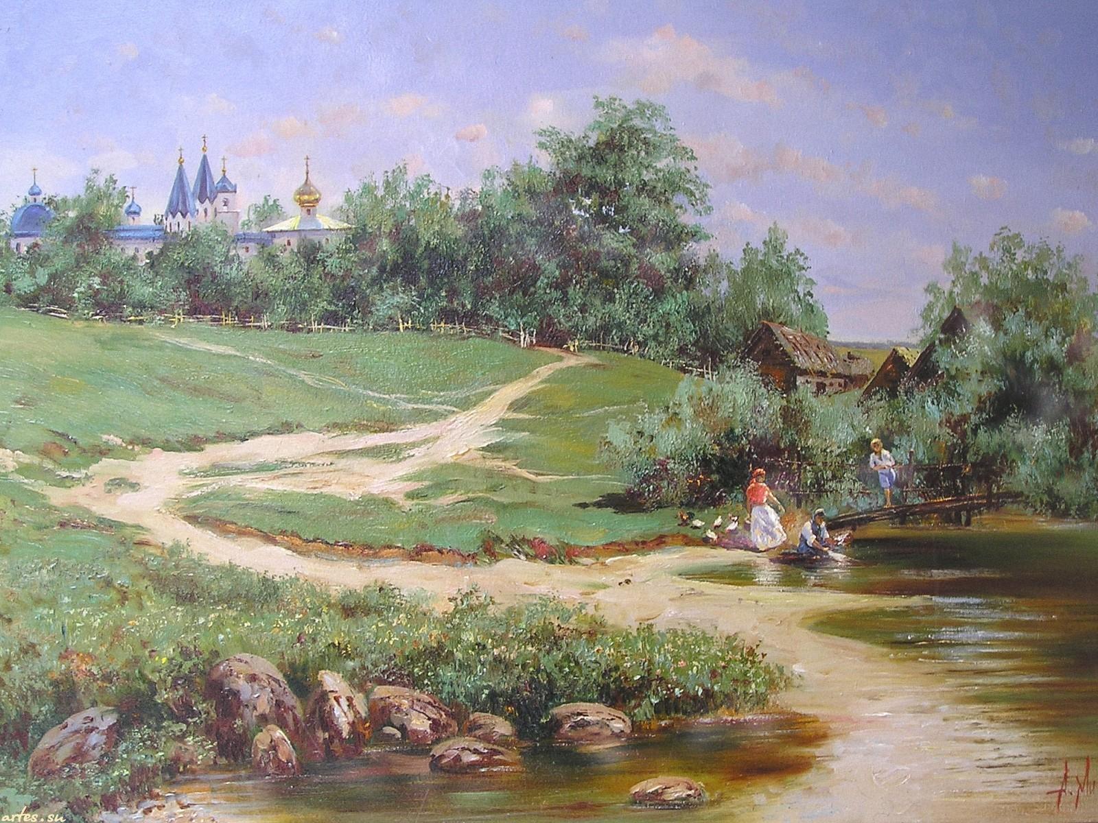 Русская деревня обои для рабочего стола