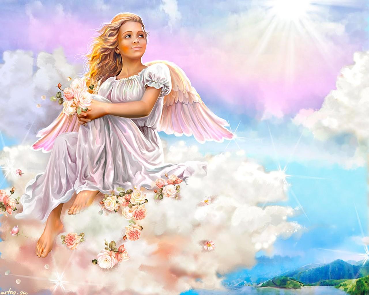 Скачать обои  ангел на облаке, В.Целуйко 1280x1024