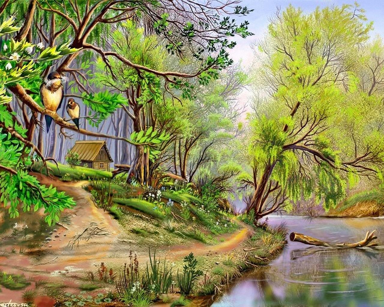 Пейзаж лес речка домик пейзажи