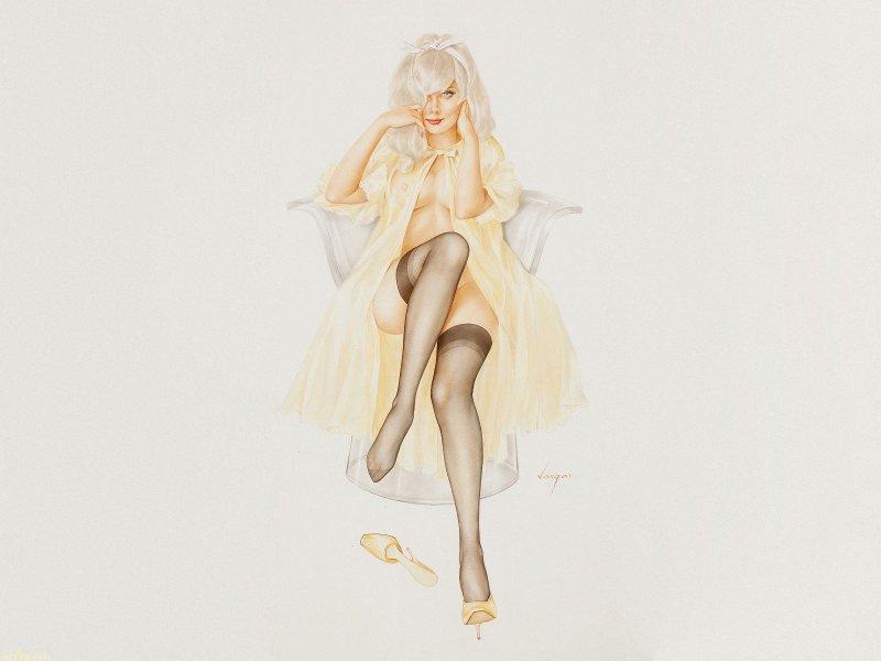 Рисунок девушка в чулках рисунок 75864 фотография
