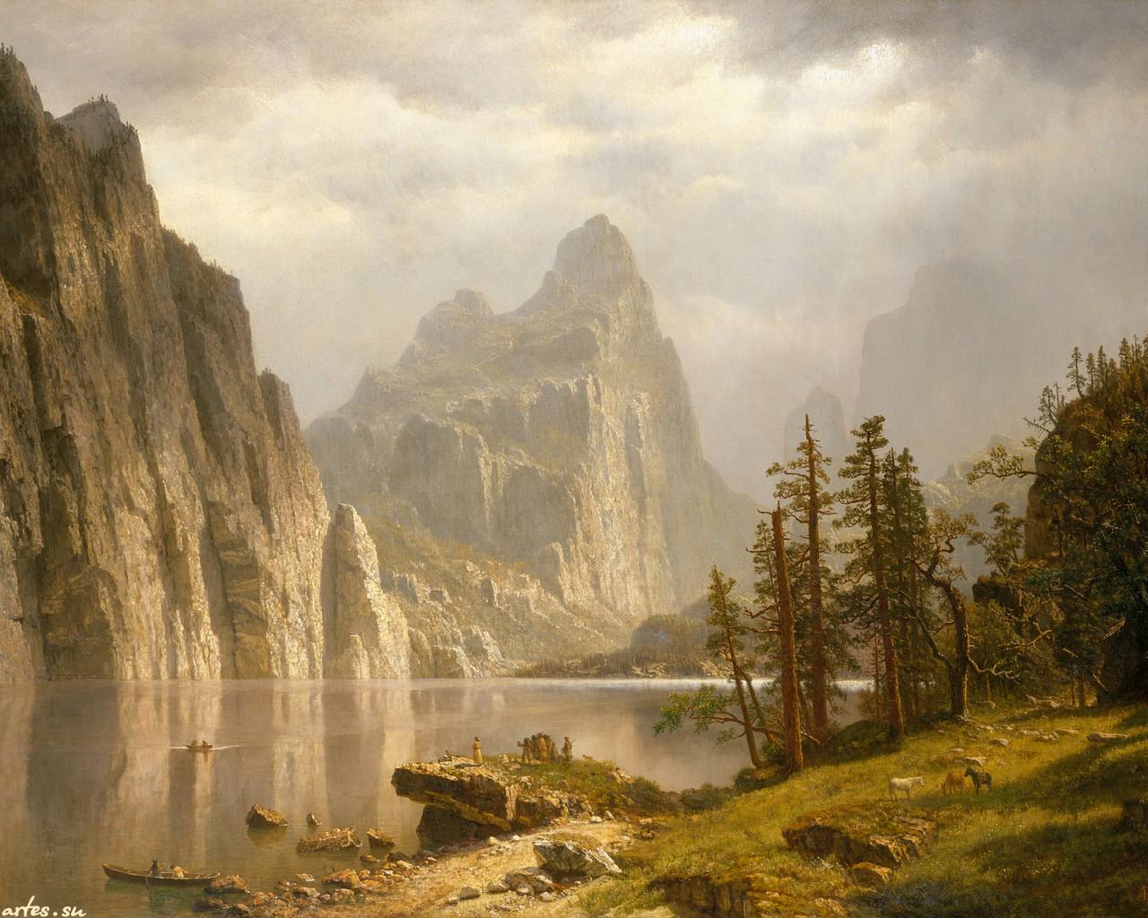 скачать обои пейзаж Albert Bierstadt природа горы на