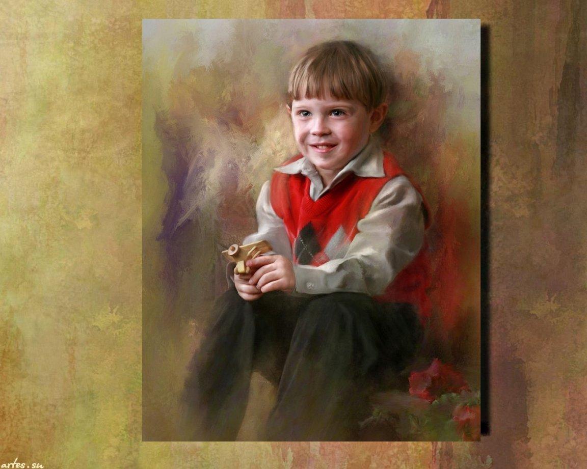 Краски мальчик с открытке 90