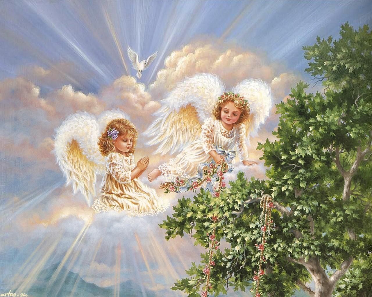 Скачать обои ангелы в небе dona gelsinger