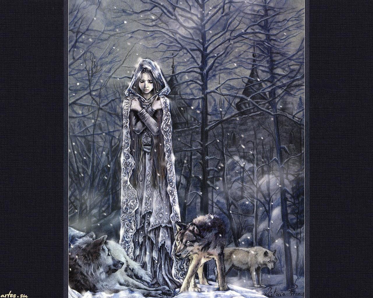Обои готика зима девушка волки