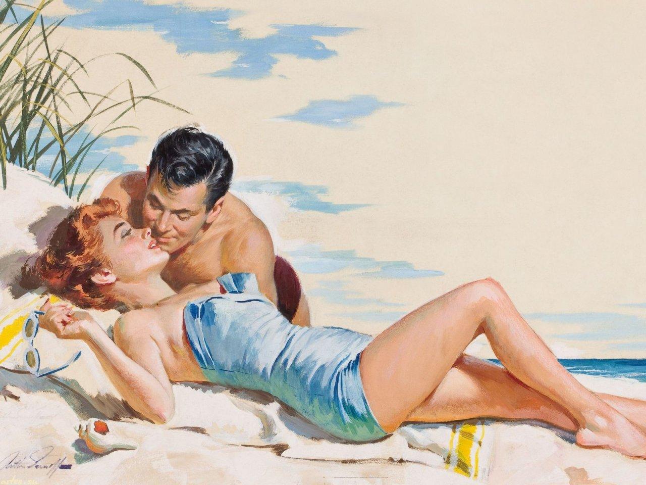 Рисунок девушки на пляже 26 фотография