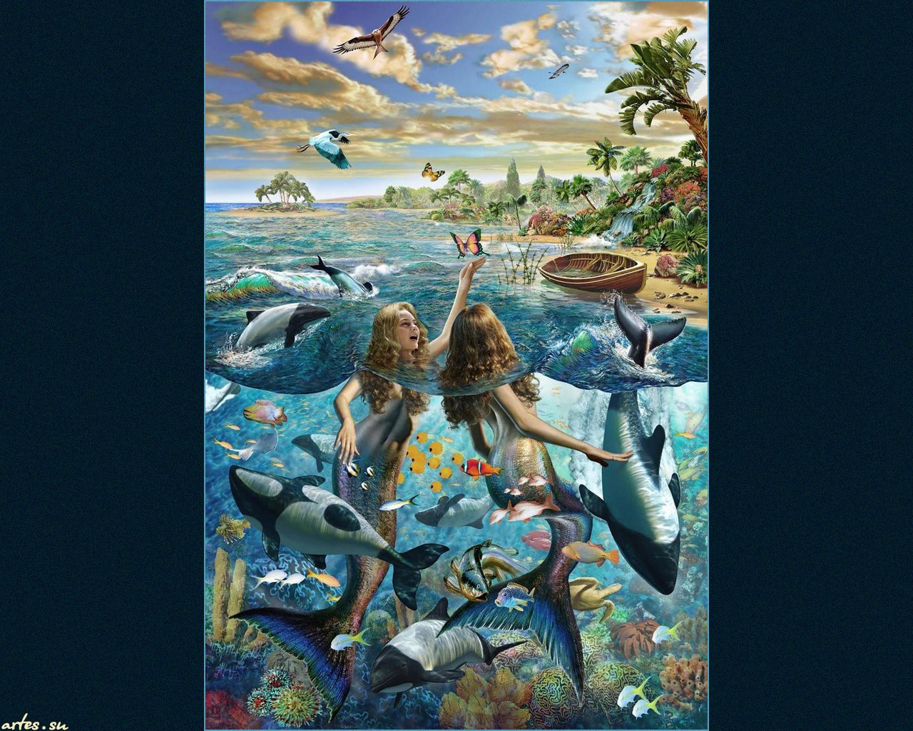 Обои подводный мир дельфины русалки