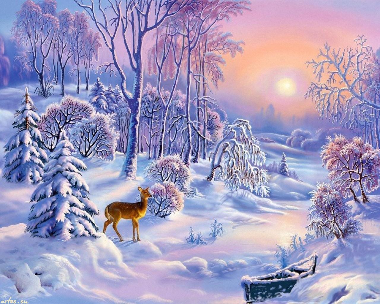 Зима с олененком на рабочий стол 1280x1024