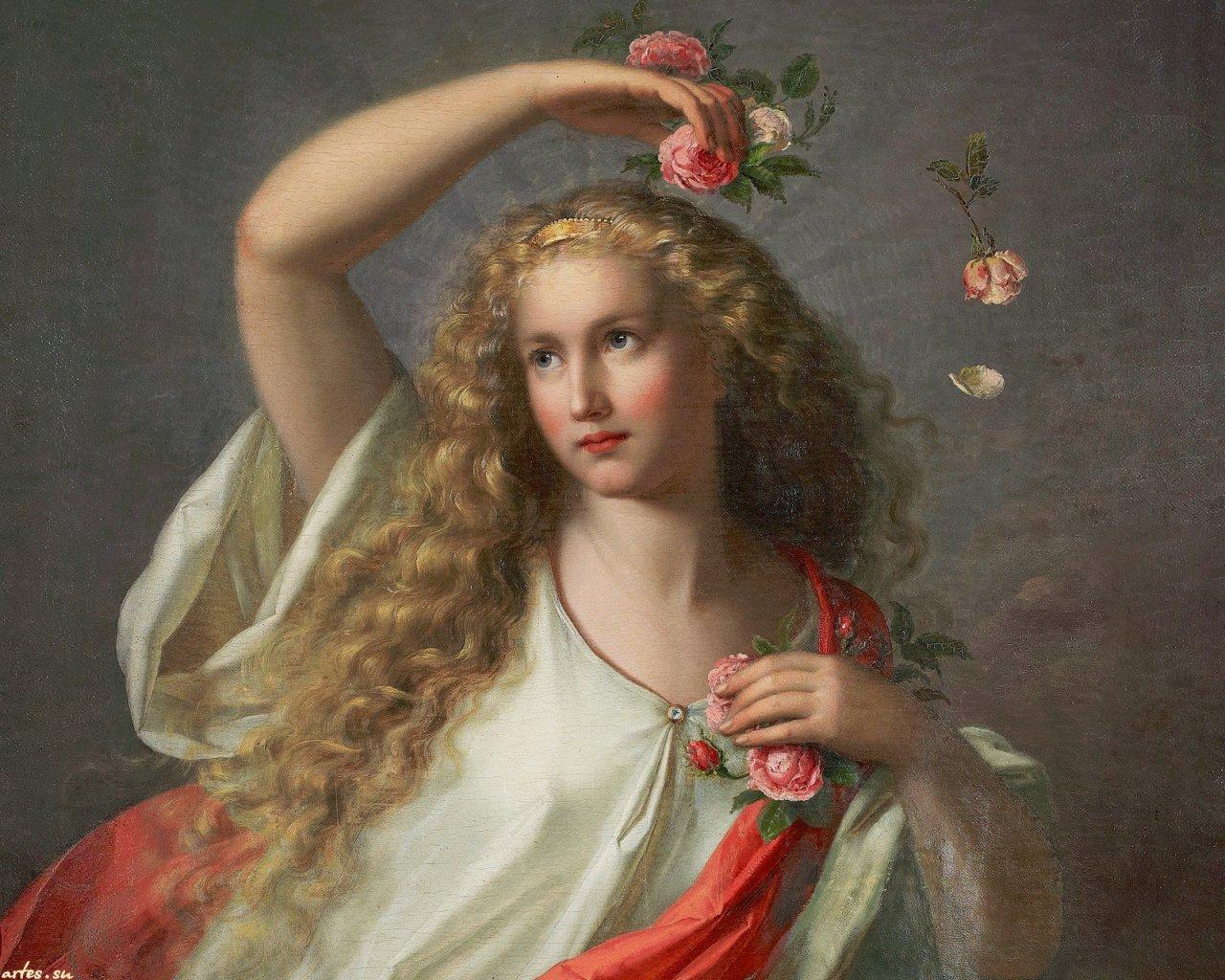 Nathanael Schmitt Tyskland. Девушка и цветы