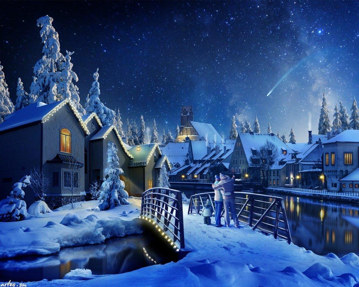 Скачать обои Новый год, новогодняя ночь, семья 1152x864