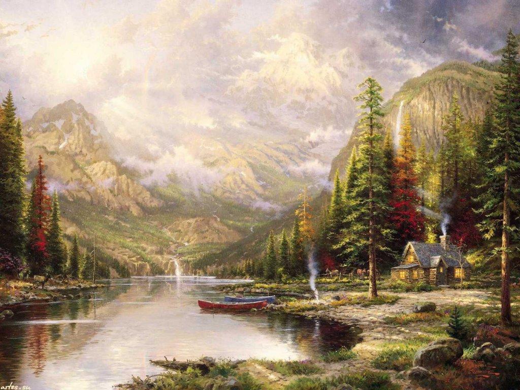 Скачать обои пейзаж, величественные горы, Thomas Kinkade 1024x768