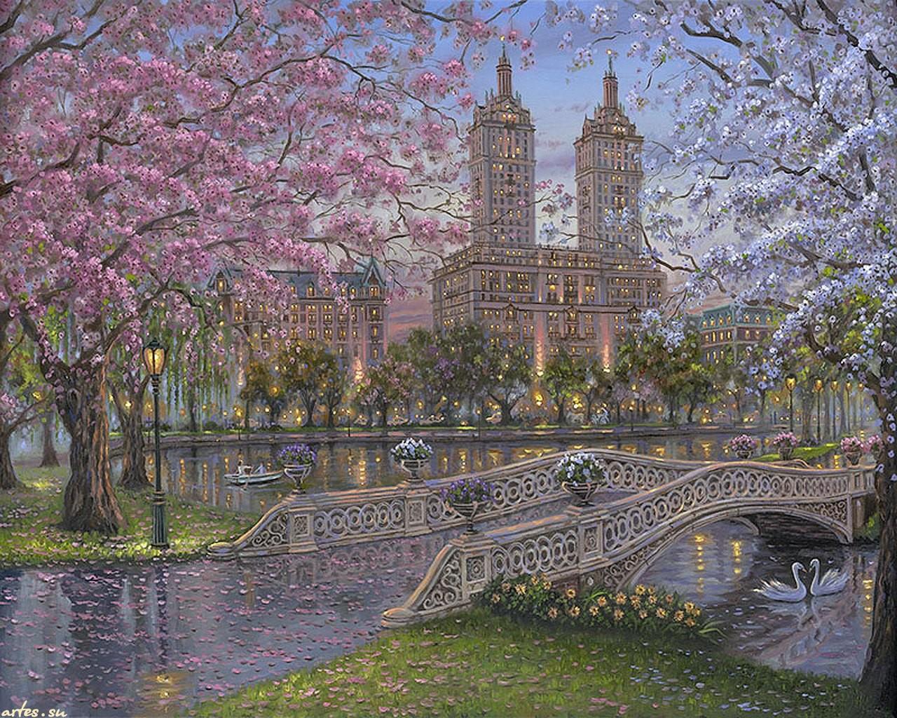 Скачать обои пейзаж весна в парке robert