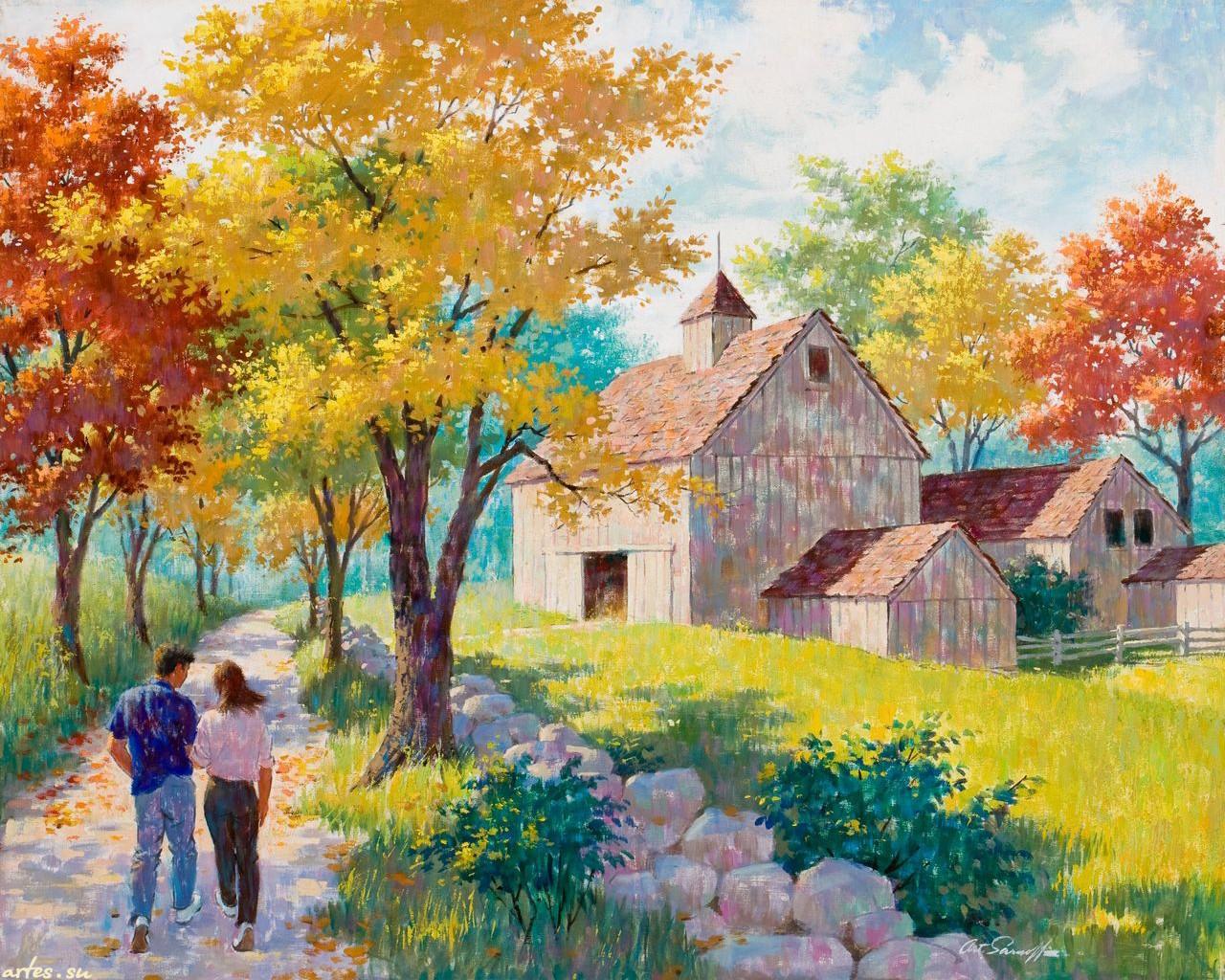 Рисунок сельский пейзаж 6