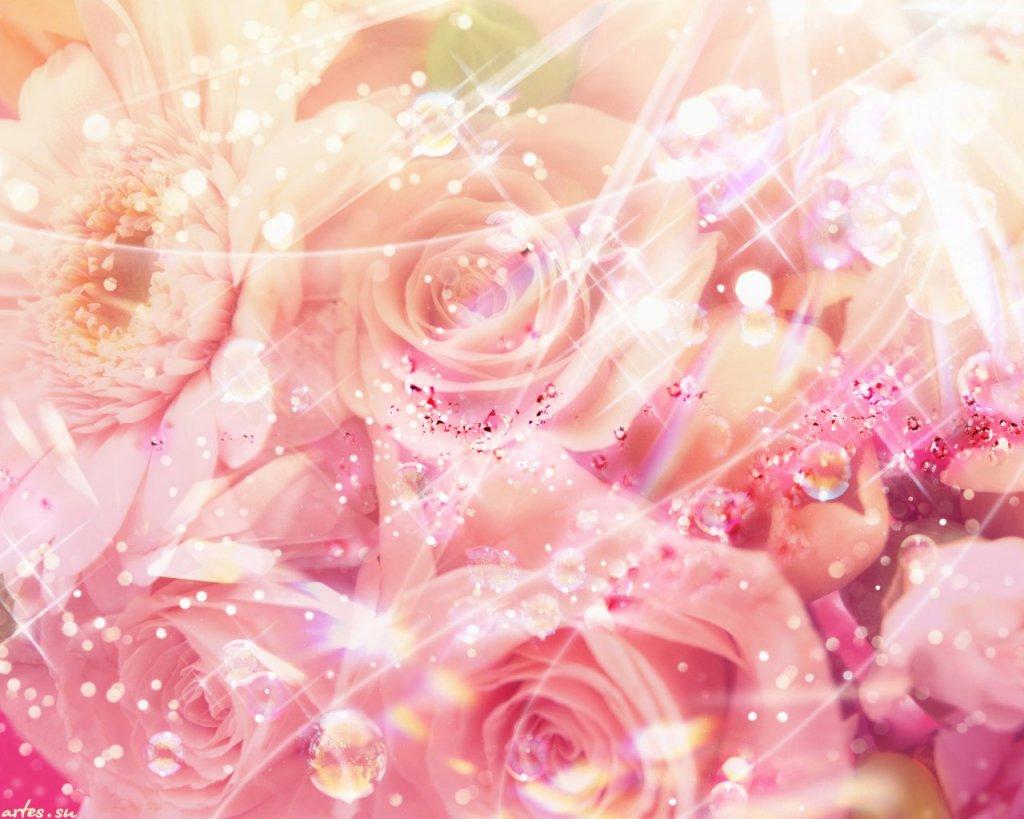 Картинки с блёстками цветы 2